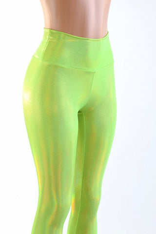 Neon Lime Holographic High Waist Leggings - Coquetry Clothing