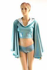 Seafoam Fan Sleeve Crop & Cheekies - Coquetry Clothing