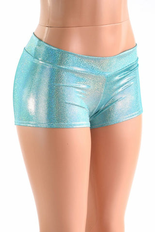 Lowrise Seafoam Holographic Shorts - Coquetry Clothing