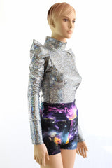 Sharp Shoulder Holographic Space Top - Coquetry Clothing