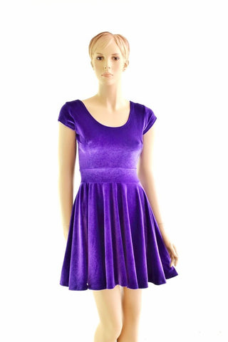 Purple Velvet Skater Dress - Coquetry Clothing