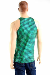 Mens Green Merman Scale Muscle Tank - Coquetry Clothing