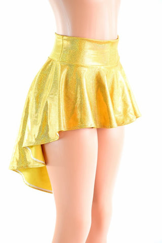 Gold Sparkly Holographic Hi Lo Rave Skirt - Coquetry Clothing
