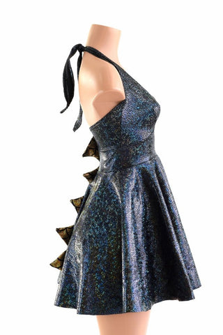 Dragon Spiked Halter Skater Dress - Coquetry Clothing