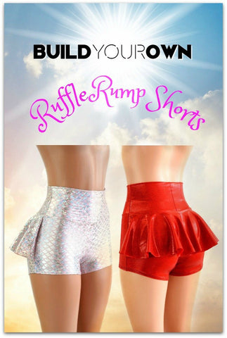 Build Your Own High Waist Ruffle Rump Shorts - Coquetry Clothing