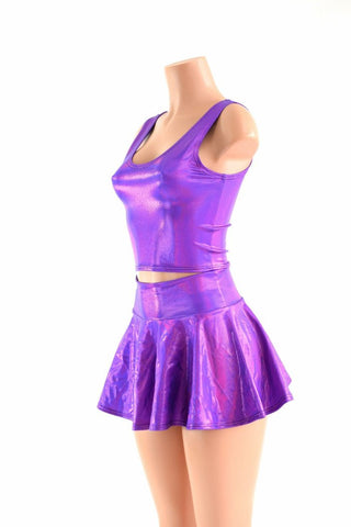 Grape Holographic Rave Skirt Set - Coquetry Clothing