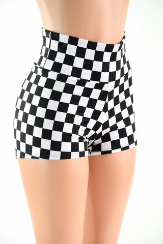 Checkered High Waist Shorts - Coquetry Clothing