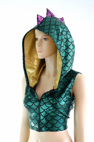 Green Dragon Zipper Front Crop Top - Coquetry Clothing