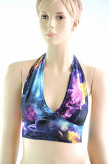 Tie Back Halter Top in UV Glow Galaxy