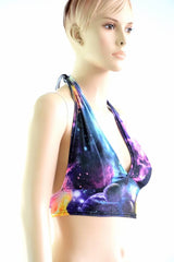 Tie Back Halter Top in UV Glow Galaxy - Coquetry Clothing