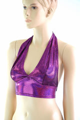 Tie Back Halter Top in Fuchsia Sparkly Jewel - Coquetry Clothing