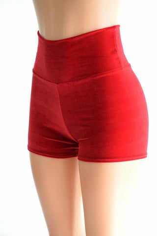 Red Velvet High Waist Shorts - Coquetry Clothing