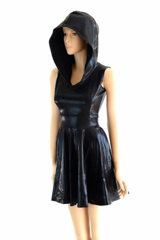 Black Mystique Hoodie Skater Dress - Coquetry Clothing