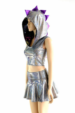 Silver Holographic Dragon Hoodie Set - Coquetry Clothing