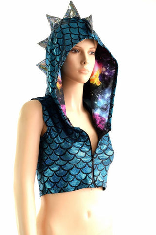 Turquoise Dragon Zipper Front Crop Top - Coquetry Clothing