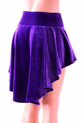 Purple Velvet Hi-Lo Mini Skirt - Coquetry Clothing