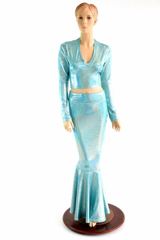 Seafoam Crop & Mermaid Skirt Set - Coquetry Clothing
