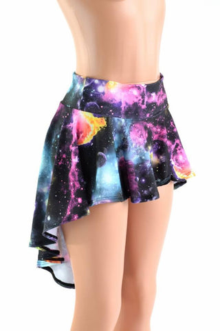 UV Glow Galaxy Hi Lo Rave Mini Skirt