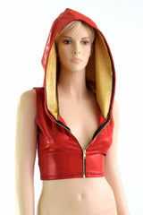 """Flash"" Red & Gold Zipper Crop Hoodie - Coquetry Clothing"