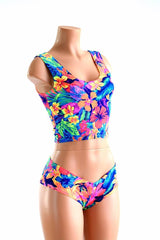 Tahitian Floral Tank Crop & Cheekies Set - Coquetry Clothing