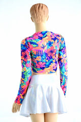 Neon Tahitian Floral Long Sleeve Crop - Coquetry Clothing