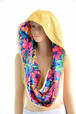HUGE Neon Tahitian & Gold Festival Hood - Coquetry Clothing
