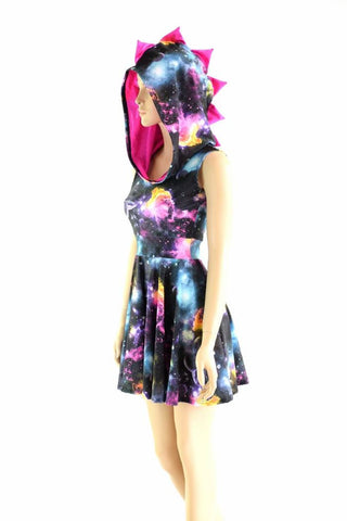 Sleeveless Dragon Hoodie Skater Dress - Coquetry Clothing