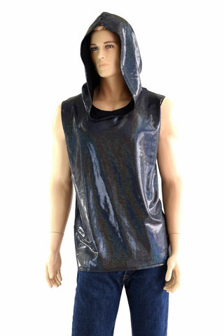 Mens Sleeveless Black Holographic Hoodie - Coquetry Clothing