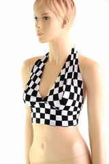 Checkered Tie Back Halter - Coquetry Clothing