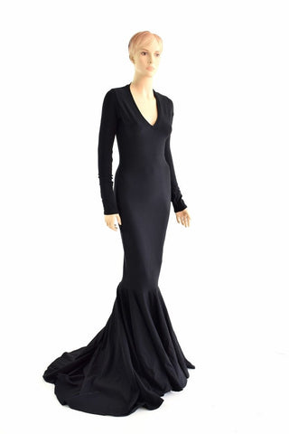 Black Zen Morticia Puddle Train Gown