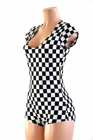 Black & White Checkered Romper - Coquetry Clothing