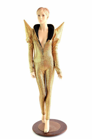 Gold Scale Mega Shoulder Catsuit - Coquetry Clothing