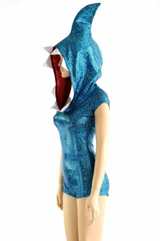 Turquoise Shark Hoodie Romper - Coquetry Clothing