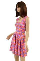 Solar Flower Tank Style Skater Dress - Coquetry Clothing