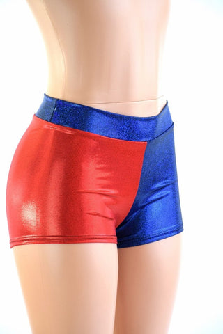 Harlequin Red & Blue Mid Rise Shorts - Coquetry Clothing