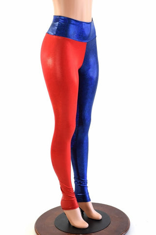 Harlequin Red & Blue High Waist Leggings - Coquetry Clothing