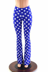 Blue & White Star Boot Cut Leggings - Coquetry Clothing