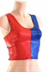 Harlequin Red & Blue Tank Crop - Coquetry Clothing