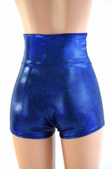 Blue Sparkly Jewel High Waist Shorts - Coquetry Clothing