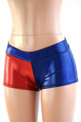 Harlequin Red & Blue Low Rise Shorts - Coquetry Clothing