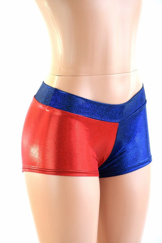 Harlequin Red & Blue Low Rise Shorts