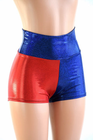 Harlequin Red & Blue High Waist Shorts - Coquetry Clothing
