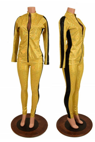 Gold and Black Side Paneled Set (Leggings & Top) - Coquetry Clothing