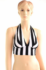 NEW! Tie Back Halter Top in Black & White Stripe