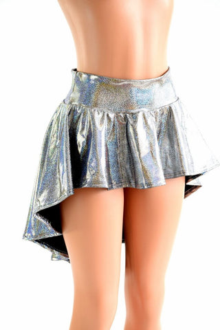 Silver Sparkly Holographic Hi Lo Rave Skirt