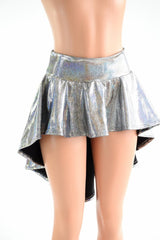 Silver Sparkly Holographic Hi Lo Rave Skirt - Coquetry Clothing