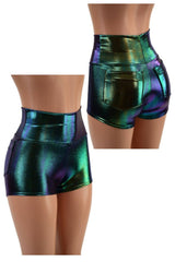 Scarab High Waist Shorts with Pockets - Coquetry Clothing