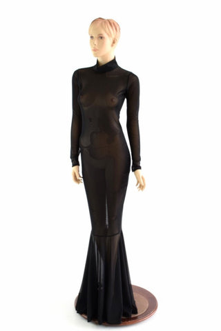 Black Mesh Zipper Back Gown - Coquetry Clothing