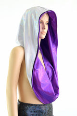 White and Grape HUGE Reversible Festival Hood - Coquetry Clothing