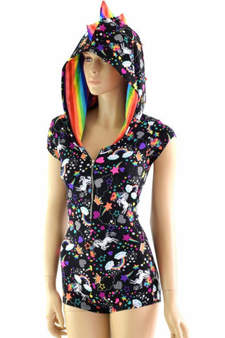 Unicorns & Rainbows Dragon Hoodie Romper - Coquetry Clothing